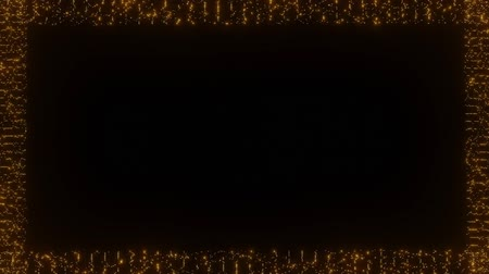 вспышка : Animated frame composed of flashing small dots, orange glowing dots on black background. Empty space for own titles or text.