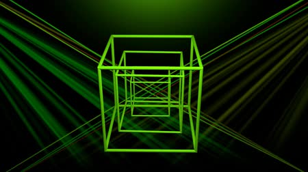 perspektif : 3d laser show with rotating wireframe cube, color changing object with colorful rays on black background, disco or nightclub decoration