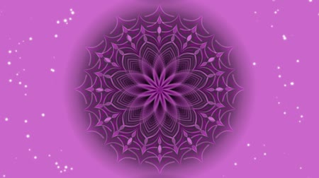 indianin : Pink mandala in tunnel motion, live mandala for love, joy and positive mood obtaining, small star glitters on background