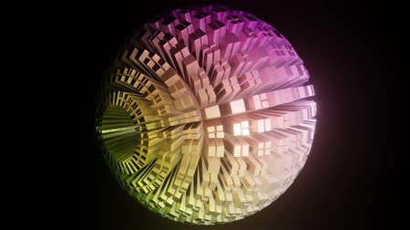 объект : Sphere composed of blocks in pastel colors, ball rotating on black background, light effect, zoom. 3d animation
