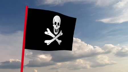 piracy : Pirate flag on red pole against the backdrop of heaven with dramatic clouds. Computer animation. Symbol of skull and crossed bones, wind simulation