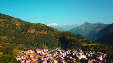 Himalayan mountain in Besisahar, Nepal - October 19, 2017 Stock Footage