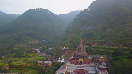 mantra : View of Statue Temple of Guru Padmasambhava, Kathmandu valley, Nepal - October 16, 2017