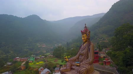 gompa : View of Statue Temple of Guru Padmasambhava, Kathmandu valley, Nepal - October 16, 2017