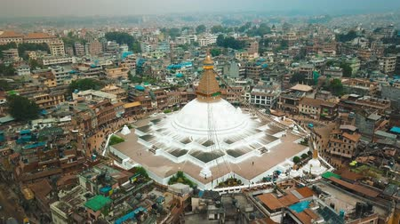 mantra : Stupa Bodhnath Kathmandu, Nepal - October 12, 2018 Stock Footage