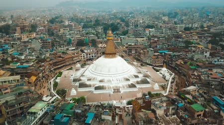 Stupa Bodhnath Kathmandu, Nepal - October 12, 2018 Stock Footage