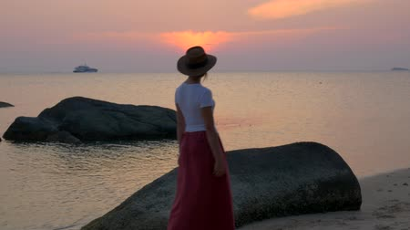 wistful : Beautiful girl in a hat on the beach sees off a ship at sunset