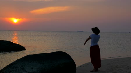 wistful : A sweet girl standing on the beach meets the sunset. Stock Footage