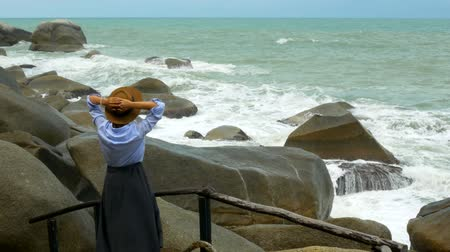 impending : The girl in the hat looks at the impending wave. Stock Footage