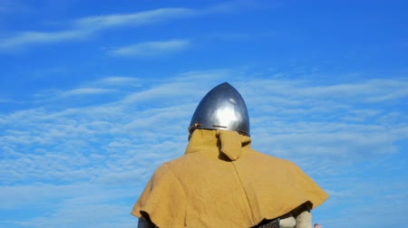 costumes : Weapon knights medieval warrior, Reconstruction of historical times Stock Footage
