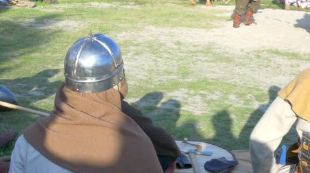 vikings : knights in armor on vacation. Reconstruction of historical times Stock Footage