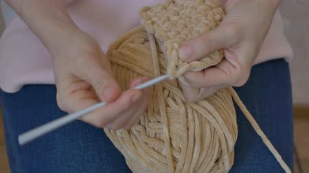 meada : crochet close-up with beige threads Stock Footage