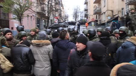Ukraine. Kiev. December 5, 2017. people rebel against power. Collisions of people with the police. Protest against the detention of Saakashvili Stock mozgókép