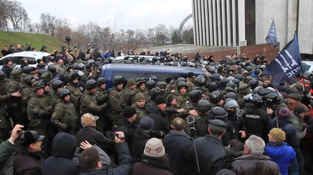 Ukraine. Kiev. December 5, 2017. people rebel against power. Collisions of people with the police. Protest against the detention of Saakashvili.
