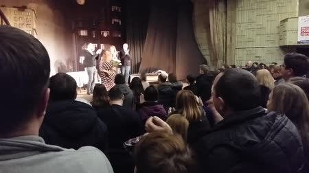 Kyiv, February, 3, 2018, Ukraine. The audience applauds the actors on the stage of the theater.