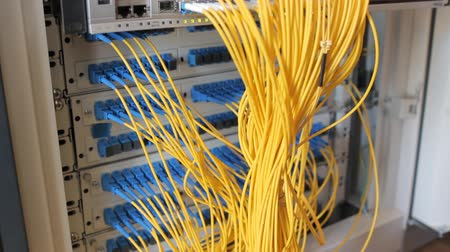 поставщик : Media Converters. Fiber Optic cables connected to an optic ports and UTP Network cables connected to FastGiga ports. Data Network Hardware Concept. SCUPC connectors.