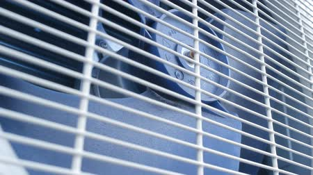 airconditioning : Blue outdoor ventilator airconditioning, close-up Stockvideo