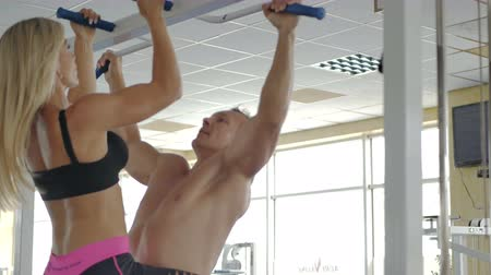 Man and woman at the gym. Stock Footage
