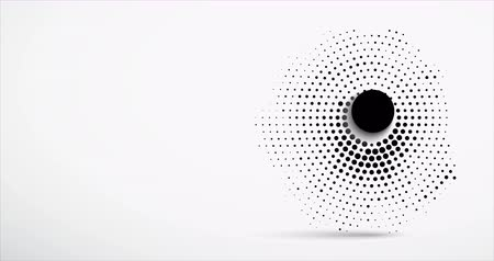 deixar : Abstract animation. Black dots halftone in the form of a circle and a large black button in the center leave and scatter chaotically.