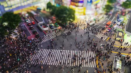 shibuya : Shibuya Crossing is one of the busiest crosswalks in the world. Pedestrians crosswalk at Shibuya district. Tokyo, Japan Stock Footage
