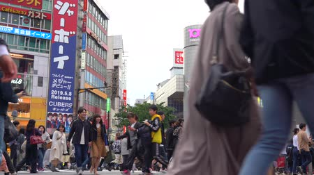 baixo ângulo : Pedestrian walking on Shibuya Crossing in daytime (4K UHD Low Angle). View of pedestrians crosswalk at Shibuya district on normal speed