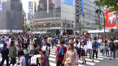 Pedestrian walking on Shibuya Crossing in day time (4K UHD). Camera panning right to left normal speed