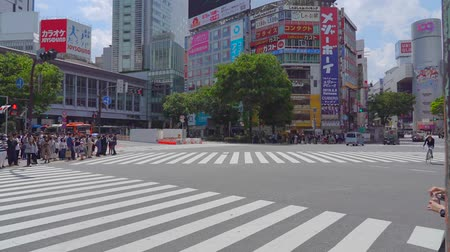 Shibuya Crossing in day time (time-lapse), camera long shot selective focus normal speed, pedestrians crosswalk at Shibu Ya district. Tokyo, Japan-May 4, 2019