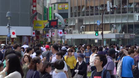 Tokyo, Japan-May 4, 2025: Close up pedestrians walking on Shibuya Crossing in day time (Slow Motion Video). Camera long shot, selective focus Стоковые видеозаписи