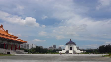 National Taiwan Democracy Memorial Hall ( National Chiang Kai-shek Memorial Hall ) 4K UHD time-lapse, Taipei, Taiwan. camera panning left to right, selective focus normal speed