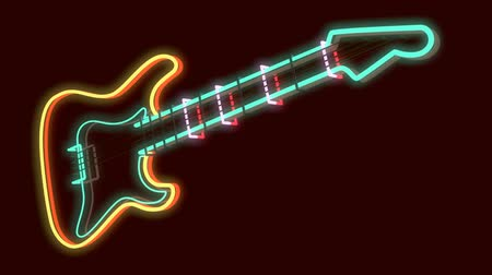 rocks red : 3d rendered modern guitar as neon lamp