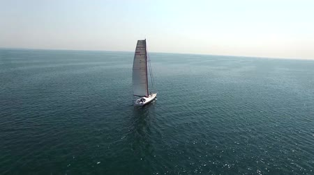 navigasyon : Aerial seascape 4k shot of a white sailing yacht in calm open sea on summer day Stok Video