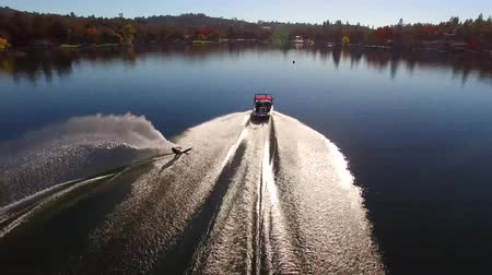 bezmotorové létání : Aerial 4k view on professionl male athlete water skiing with motor boat in calm lake water in beautiful forest landscape