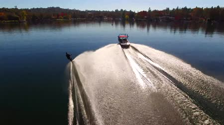 bezmotorové létání : Professional male water skier gliding in calm blue lake water in forest park sunny landscape in amazing 4k aerial view