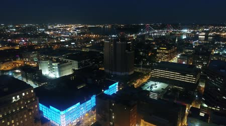 Wonderful 4k aerial drone panorama flyover modern Philadelphia city downtown in dark night light illumination cityscape Stok Video