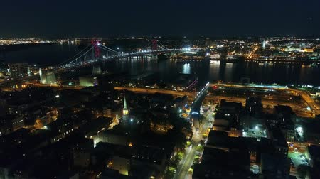 Incredible drone aerial 4k panorama flyover modern Philadelphia city downtown in dark night light illumination cityscape