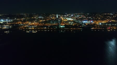 Incredible 4k aerial drone panorama of big modern Philadelphia metropolis cityscape in bright night light illumination