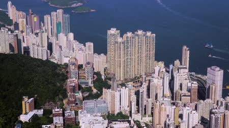 downtown, hong kong, filming with drone Stok Video
