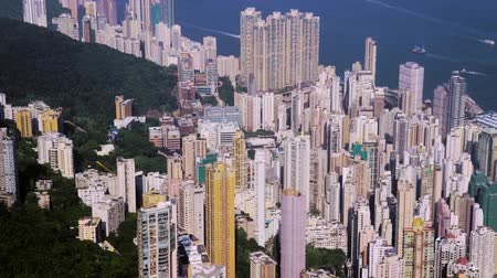 Hong Kong City Aerial. Beautiful Clear Blue Sky. Stok Video