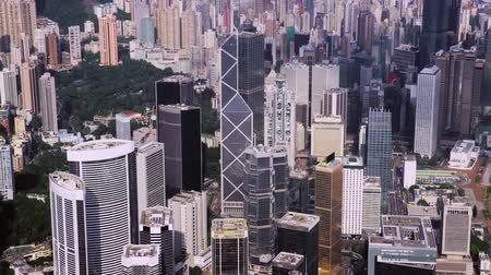čínská čtvrť : aerial drone footage in Hong Kong, one of Asias most iconic modern cities.