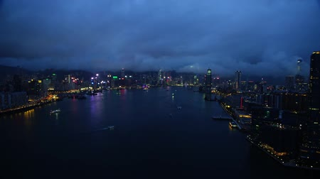 shooting from drone hong kong night lights and skyscrapers Stok Video