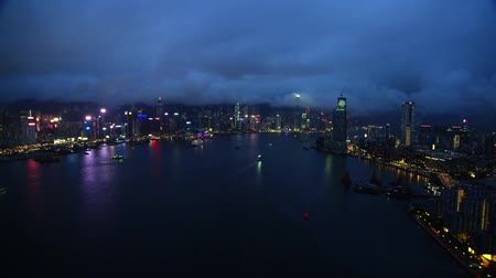 noc : shooting from drone night lights hong kong city