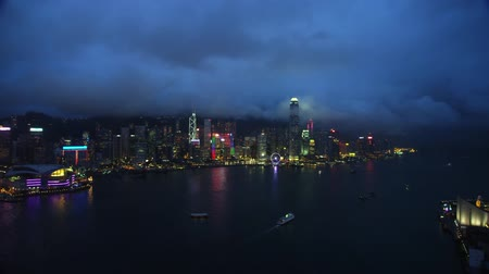 incredible view from drone above night city hong kong, lights and skyscrapers Stok Video