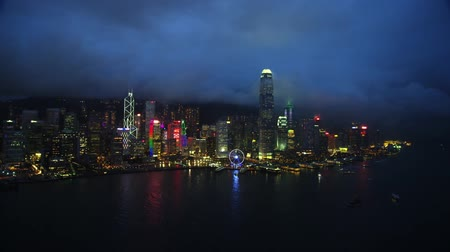 shooting from drone, hong kong city, night skyscrapers Stok Video