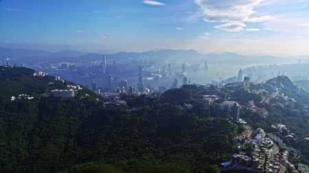 Spectacular Aerial Drone Cityscape Panorama Of Urban Architecture Hong Kong City Stok Video