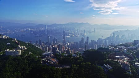 Picturesque Aerial Drone Cityscape Panorama Of Urban Architecture Hong Kong City