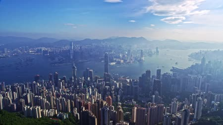 Beautiful Drone Aerial Cityscape Panorama Flight Over Urban Architecture Hong