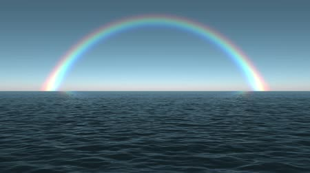 sunset sea : Ocean Dawn Rainbow Scene