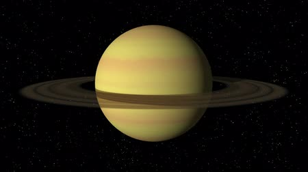 atmosphere : 3D animation of planet Saturn rotating in a seamless loop.