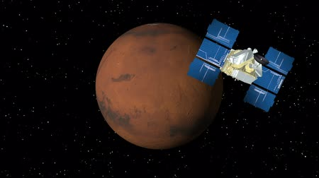 солнечный : 3D animation of satellite approaching planet Mars and orbiting.