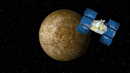 cıva : 3D animation of satellite approaching planet Mercury and orbiting. Stok Video